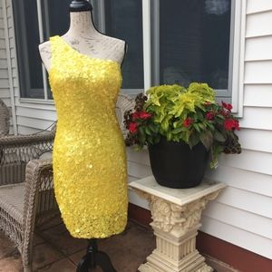 Arden B Yellow Sequined, Off the Shoulder mini